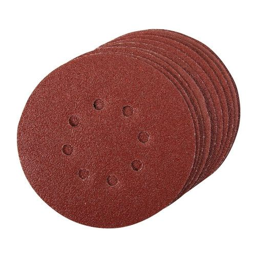 10 Pack Silverline 196571 Hook & Loop Sanding Discs Punched 150mm 60 Grit